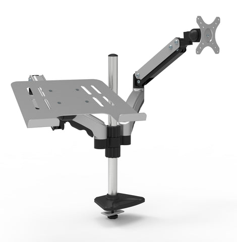 "Gas Spring Monitor and Laptop Desk Mount, Single Gas Spring Arm Stand/Holder up to 27"" Computer, Full-Motion Height Adjustment and Clamp/Grommet Mounting, Silver/Black (RCLM-SB)"