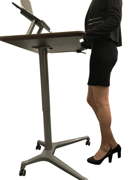 Pneumatic Sit Stand Mobile Desk Portable Gas Lift Height