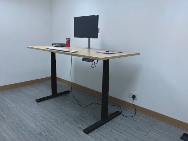 Dual Motor Electric Sit to Stand Workstation, Height Adjustable, Black (DM8)