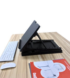Ergonomic Design Multi Level Height Adjustable Laptop Stand, Sit-stand, Table Top, Black (LSP6)