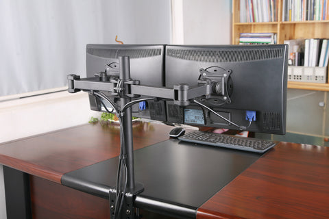 Dual LCD LED Monitor Desk Mount Stand Heavy Duty Fully Adjustable Arm fits 2 / Two Screens up to 27""