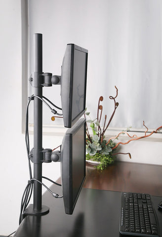 "VESA Full Motion Dual Vertical Arm Desk Monitor Mount Stand with Fully Adjustable Arms Fits 2 Screens up to 27"" (Black) (2MSCTV)"