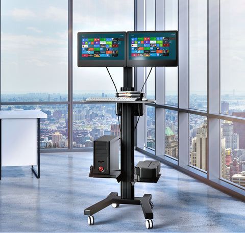 Dual Computer Mobile Cart com Workstation (MCT09-B)