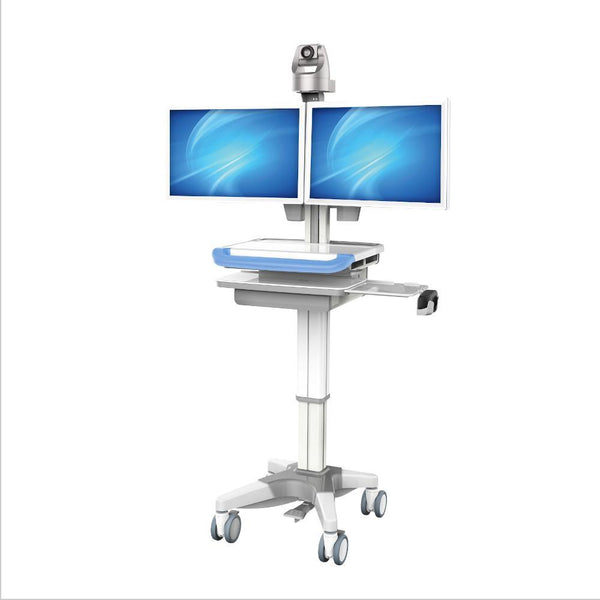 DUAL MONITOR MEDICAL CART WITH LOCKABLE WHEELS FOR TELEMEDICINE, (HSC-03G)