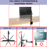 Heavy-Duty Single Fully Adjustable Monitor Arm Stand Mount Fits One Screen 13-32 inch 22lbs for Monitor Computer Screen 13 to 32 Inch, C-Clamp Base, VESA 75×75, 100×100, Black (RCBIG1)