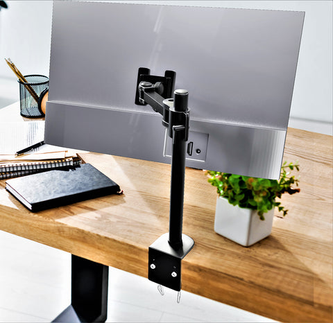 Single Monitor Desk Mount Arm Fully Adjustable Stand Fits up to 27-inch LCD LED Screen (RCPRM-SS)
