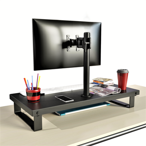 Rife LCD Monitor Desk Stand Adjustable Tilt Free-Standing Mount fits 1 Screen up to 27 (Bigger Size Organiser Stand with Arm), Black (RS001D)