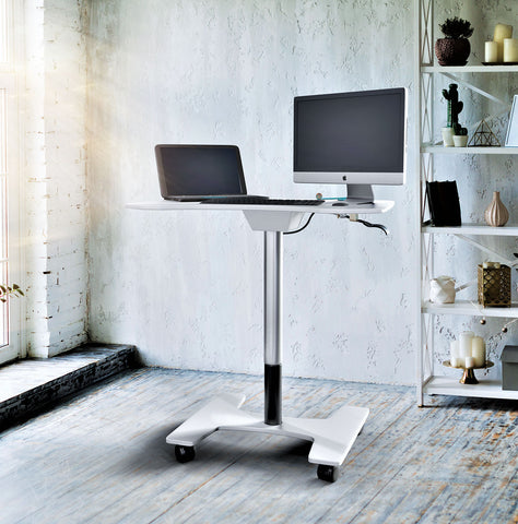 Adjustable Sit-Stand Laptop Desk Workstation Multi-Purpose Rolling Podium Lectern with Wheels Laptop Workstation, White (LPC09)