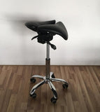 Ergonomic Adjustable Rolling Active Chair, Saddle Seat and Angle  Adjustment, Black (R4008)