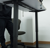 Manually adjustable standing desk with hand crank, without Wooden Top