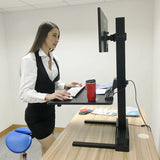 "Single 17""-32"" Monitor Mount Electric Ergonomic Height Adjustable Sit-Stand Desk Converter Workstation - Black"