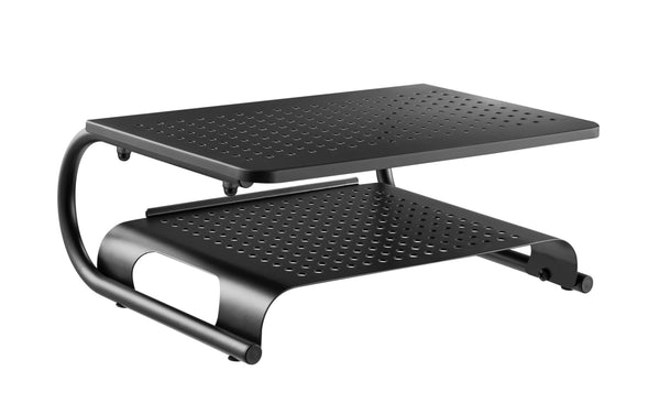 Laptop/Monitor Riser Stand with Rugged, Sturdy, Vibration Free Construction. Holds 20kg (44lbs), Vented Cooling, Black