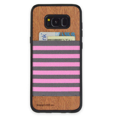 ピンク×グレー Black Bumper Pink and Gray Stripe