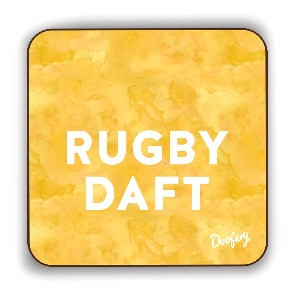 Rugby Daft Scottish Dialect Coaster Coasters Scotland Scottish Scots Gift Ideas Souvenir Present Highland Tartan Personalised Patter Banter Slogan Pure Premium Dialect Glasgow Edinburgh Doofery