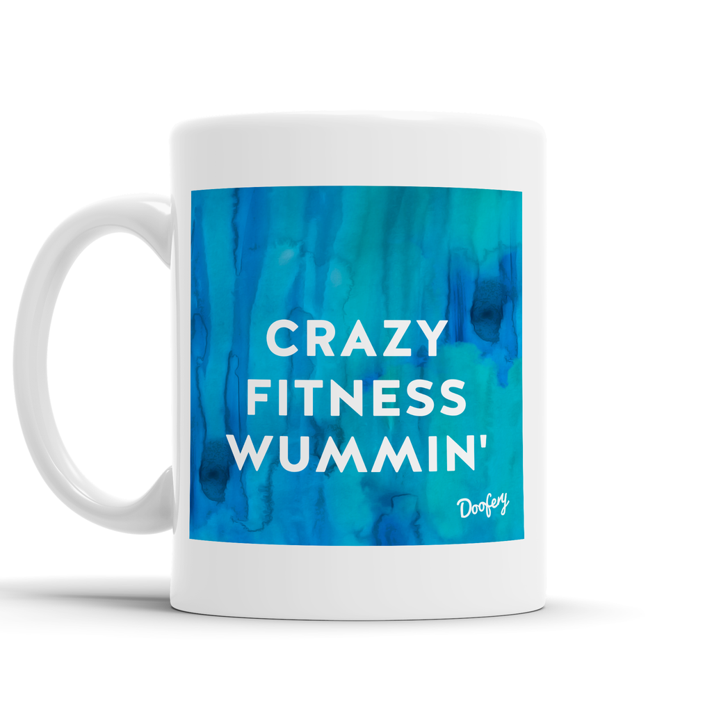 Crazy Fitness Wummin' Scottish Dialect Mug Mugs Scotland Scottish Scots Gift Ideas Souvenir Present Highland Tartan Personalised Patter Banter Slogan Pure Premium Dialect Glasgow Edinburgh Doofery