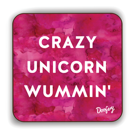 Crazy Unicorn Wummin' Scottish Dialect Coaster Coasters Scotland Scottish Scots Gift Ideas Souvenir Present Highland Tartan Personalised Patter Banter Slogan Pure Premium Dialect Glasgow Edinburgh Doofery