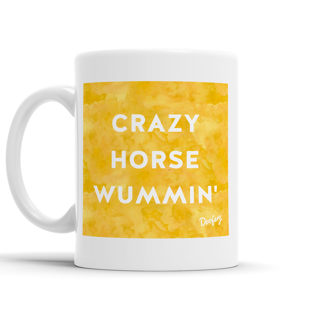 Crazy Horse Wummin' Scottish Dialect Mug Mugs Scotland Scottish Scots Gift Ideas Souvenir Present Highland Tartan Personalised Patter Banter Slogan Pure Premium Dialect Glasgow Edinburgh Doofery