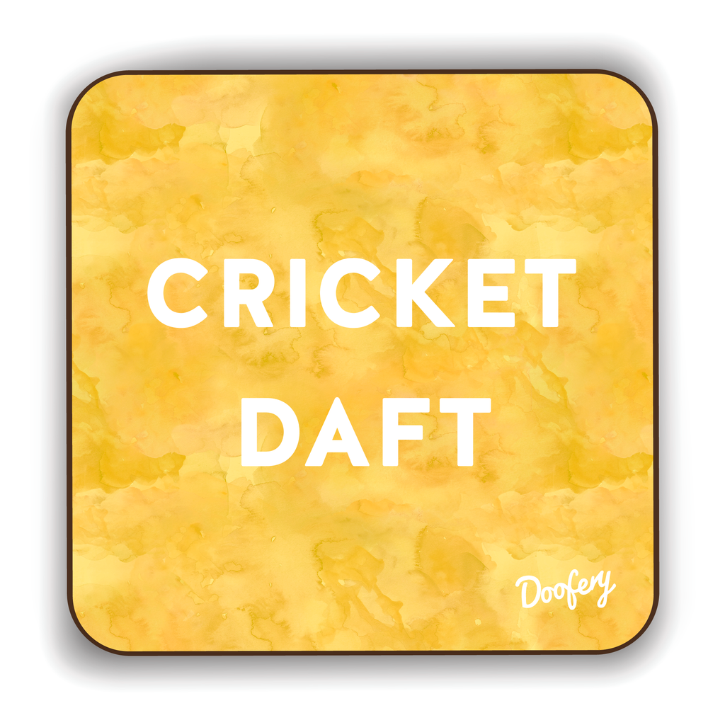 Cricket Daft Scottish Dialect Coaster Coasters Scotland Scottish Scots Gift Ideas Souvenir Present Highland Tartan Personalised Patter Banter Slogan Pure Premium Dialect Glasgow Edinburgh Doofery