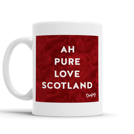 Ah pure love Scottish Dialect Mug Mugs Scotland Scottish Scots Gift Ideas Souvenir Present Highland Tartan Personalised Patter Banter Slogan Pure Premium Dialect Glasgow Edinburgh Doofery