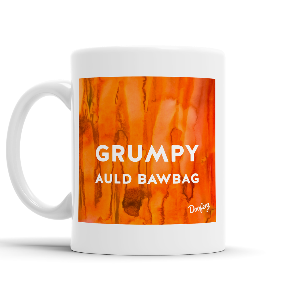 Grumpy Auld Bawbag Scottish Dialect Mug Mugs Scotland Scottish Scots Gift Ideas Souvenir Present Highland Tartan Personalised Patter Banter Slogan Pure Premium Dialect Glasgow Edinburgh Doofery