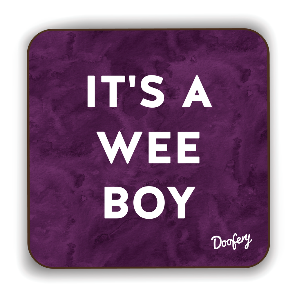 It's a Wee Boy Scottish Dialect Coaster Coasters Scotland Scottish Scots Gift Ideas Souvenir Present Highland Tartan Personalised Patter Banter Slogan Pure Premium Dialect Glasgow Edinburgh Doofery