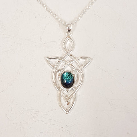 925 sterling silver celtic knot with dichroic glasd pendant