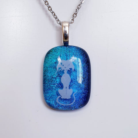 Cat with attitude, Enamel image dichroic glass pendant.