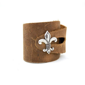BC1 - Soft Brown Leather Button Cuff