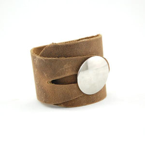 BC1 - Soft Brown Leather Button Cuff - Fearless hART