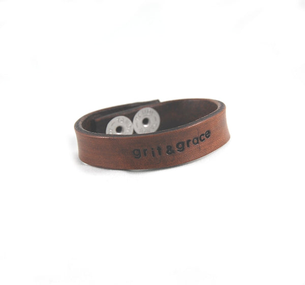 WL3 - Stamped Leather 'Wear Your Word' Bracelets 1/2""