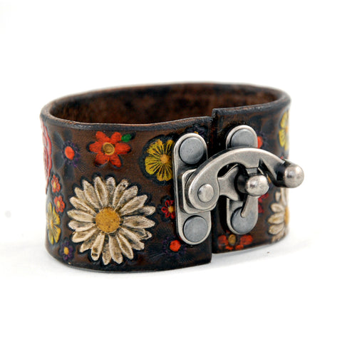 Hand stamped and painted leather cuff bracelet with functional decorative metal latch clasp
