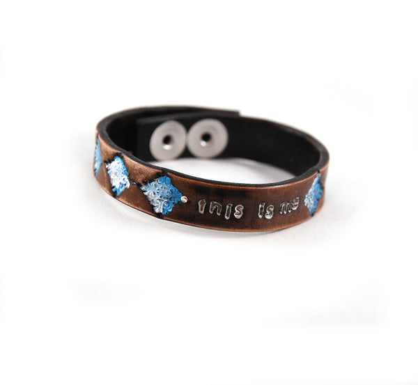 SF3 - Stamped Flower Leather Bracelet 'This Is Me' - Fearless hART