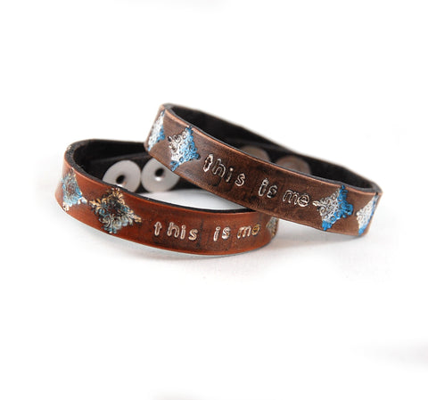 SF-3 Stamped Flower Bracelet 'This Is Me'