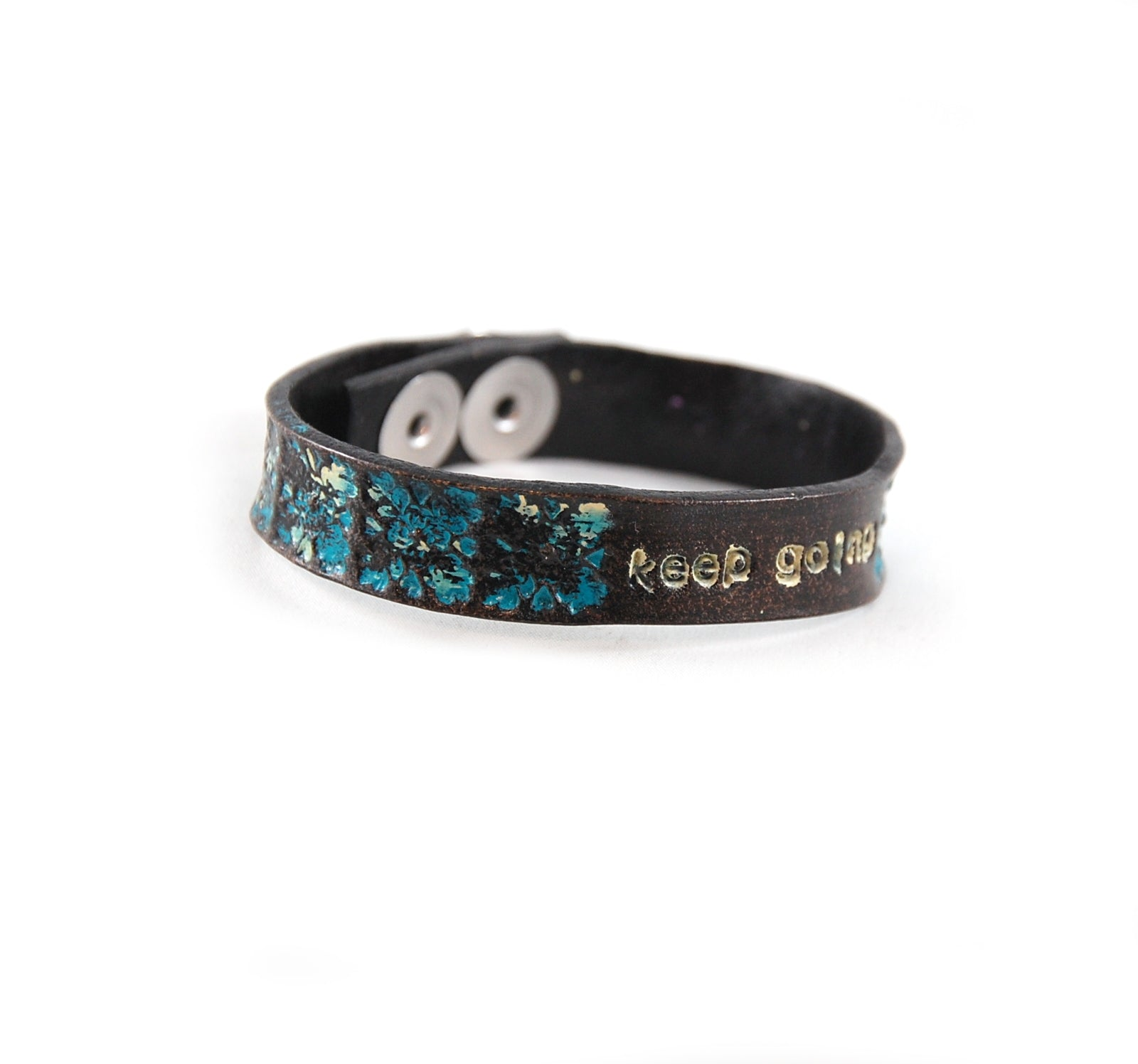 SF3 - Stamped Flower Leather Bracelet 'Keep Going' - Fearless hART