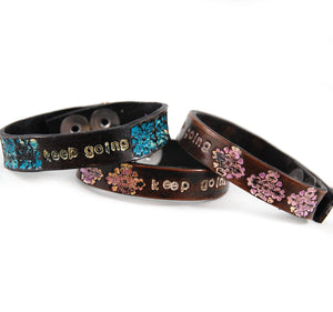 SF-3 Stamped Flower Bracelet 'Keep Going'