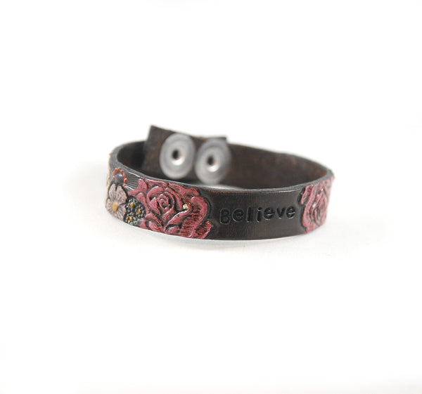 "SF3 - Stamped Flower Leather Bracelet With Empowering Words 1/2"" wide - Fearless hART"
