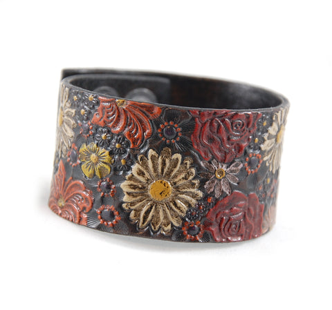 "SF1 - Stamped Flower Leather Cuff 1 1/2"" Wide - Fearless hART"