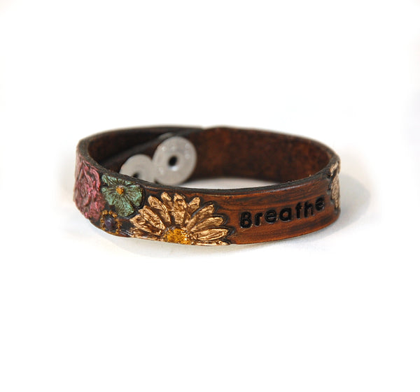 "SF-3 Stamped Flower Bracelet With Empowering Words 1/2"" wide"