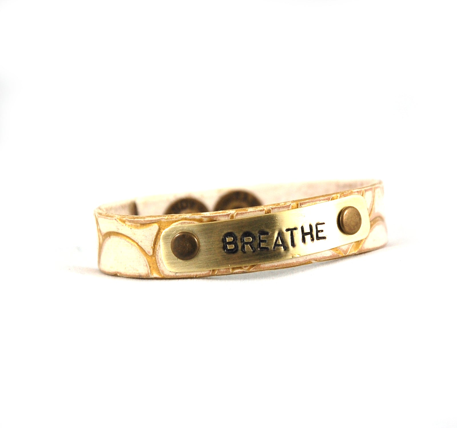 WM3 'Breathe' Leather Bracelet with Stamped Metal Plate - Fearless hART