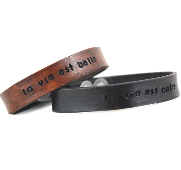 WL3 - Stamped Leather Bracelet - French phrases - Fearless hART