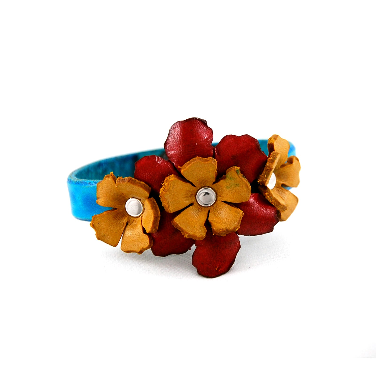 Handmade leather cuff bracelet with a 3 colourful hand sculpted leather flowers