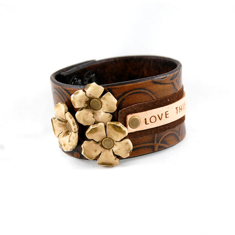 FL1 - Love This Life Leather Cuff - Fearless hART
