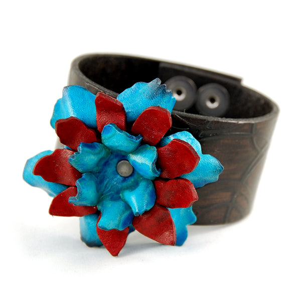 "FL1 - 1 1/2"" Leather cuff with hand crafted Leather Flower - Fearless hART"