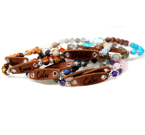 "Gemstone Bracelets with Leather Word - ""Words Matter Collection"""
