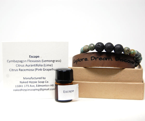 "Gemstone bracelets, Leather Cuff - ""Realize Your Potential"" Diffuser sets"