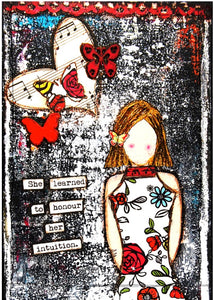 "Art Card - ""She learned to honour her intuition."""