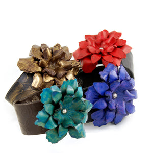 "FL1 - 1 1/2"" Leather cuff with hand crafted Leather Flower"