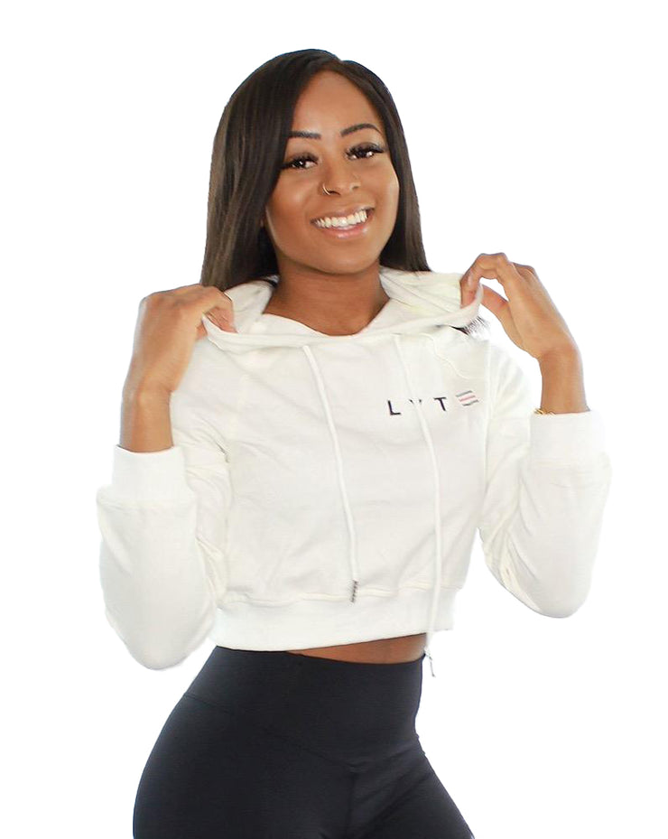 Ascend Cropped Hoodie - White
