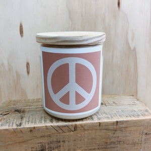 COMMONFOLK COLLECTIVE PEACE SIGN CANDLE: PINK/  PALM DESERT