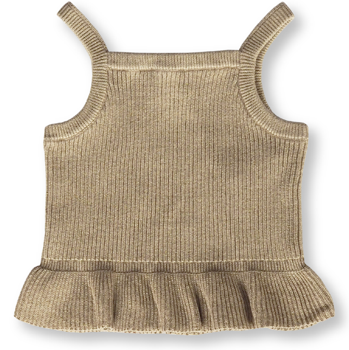 GROWN RIBBED FRILL TOP: GOLDIE